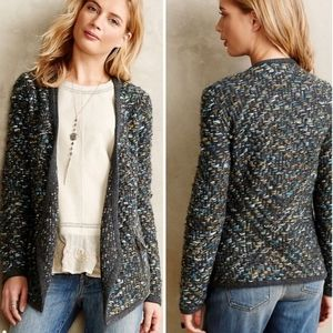 Anthropologie Moth Keavy Jacquard Open Jacket